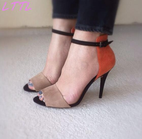 Fashion Orange Suede Leather Women Sexy Open Toe Sandals Mixed Color Ladies Ankle Buckles High Heels Elegant Dress Shoe fashion summer apricot sandals charming multi buckles design woman high heels ankle buckles cover heel back zipper free ship
