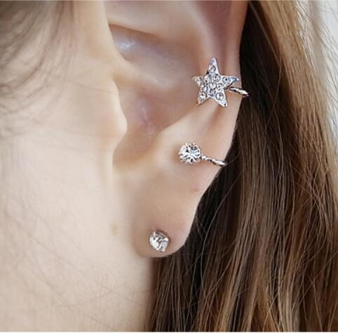 1 Piece Fashion Leaf Design Crystal Stud Earrings Tassel Earrings for Women Star Ear Cuff Jewelry Gold Color Silver Earrings 8