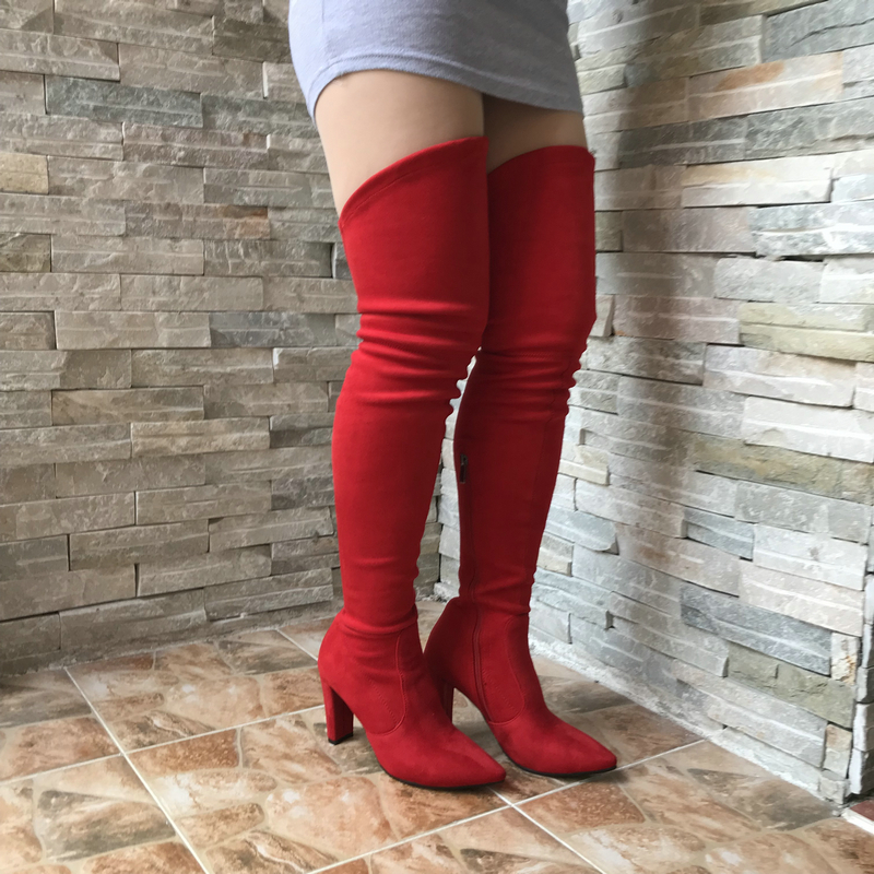 741696fa4e5 V Shape Thigh High Boots Womens Stretch Suede Over the Knee Boots Pointed  Toe Party Sexy Female Long Boots Wide Calf ...