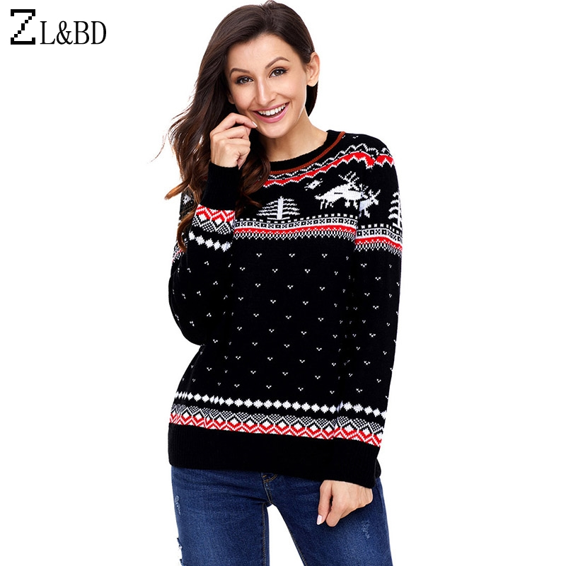 ZL&BD Deer Knitted Christmas Sweater Women Autumn Winter O-Neck Long Sleeve Knitted Sweaters Black Pullover Ladies Jumper ZA781