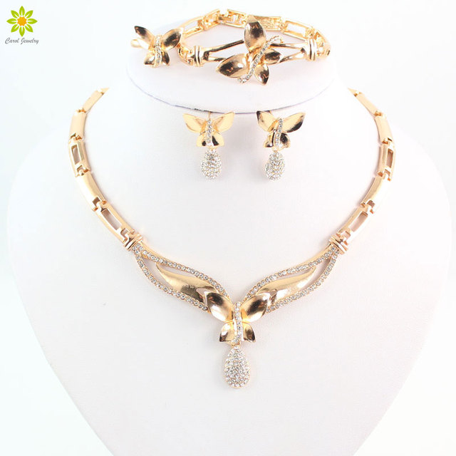 Fashion Butterfly Pendant Crystal Necklace Earrings Set Gold Color