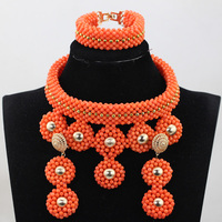 Exclusive African Nigerian Wedding Coral Beads Jewelry Sets New Women Bridal Statement Necklace Set CNR775