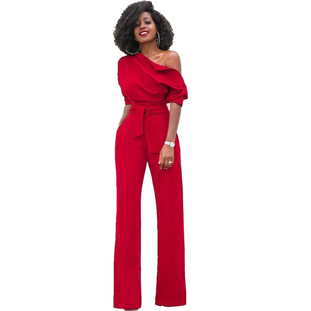 New Sexy One Shoulder Womens   Jumpsuits   Sexy Ruffles Clubwear   Jumpsuits   Party   Jumpsuit   Romper Wide Leg Long Trousers