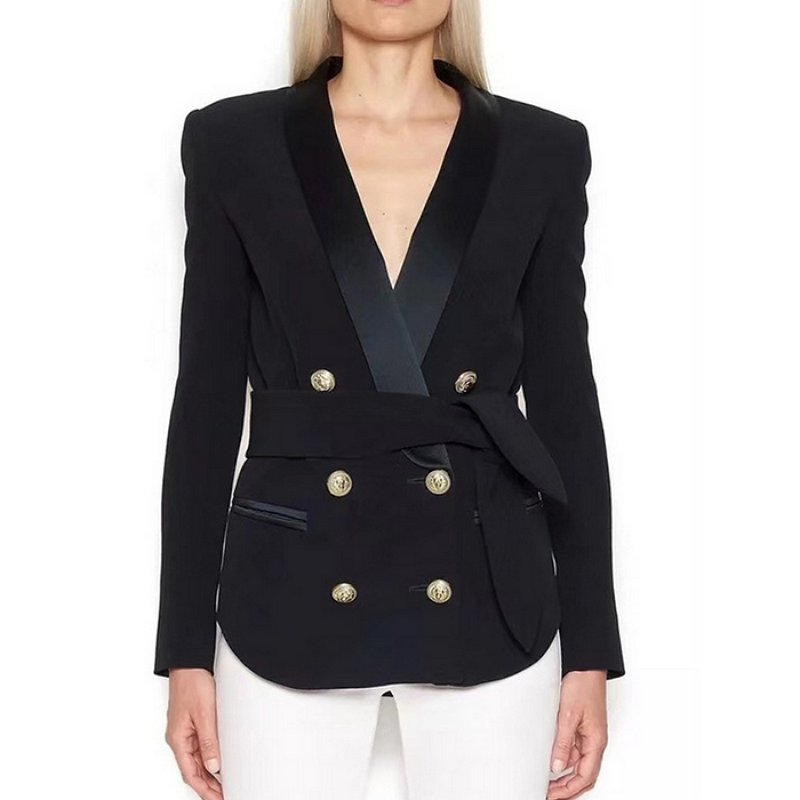 Lady Blazer Collar Gold-Button Women Jacket Autumn High-Street Double-Breasted New-Fashion