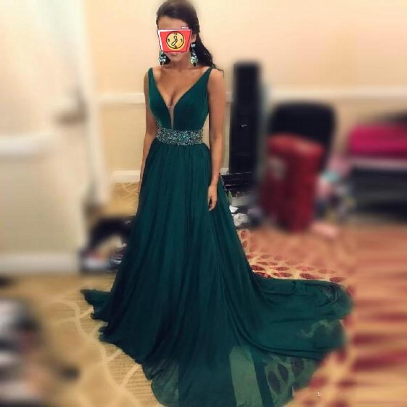 Emerald   Evening     Dress   Sash Crystal Vestidos De Festa Chiffon   Evening     Dresses   Custom Made Robe De Soiree   Evening   Gown Elegant