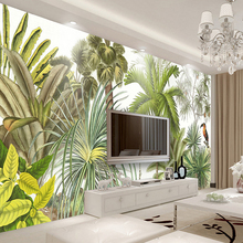 Custom 3D Wall Mural Wallpaper Tropical Rainforest Green Plants  Hand Painted Oil Painting Living Room Sofa Background Wall Paper