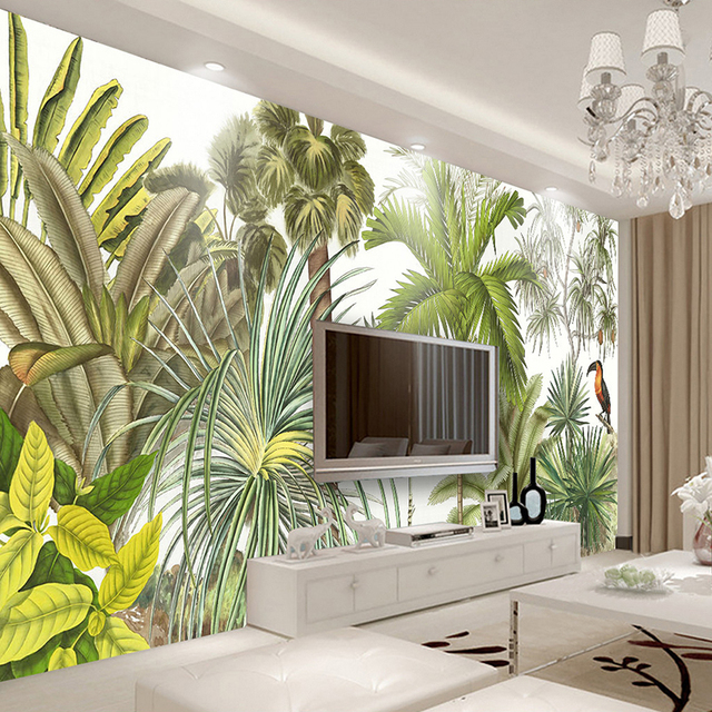 Custom 3D Wall Mural Wallpaper Tropical Rainforest Green Plants  Hand Painted Oil Painting Living Room Part 91