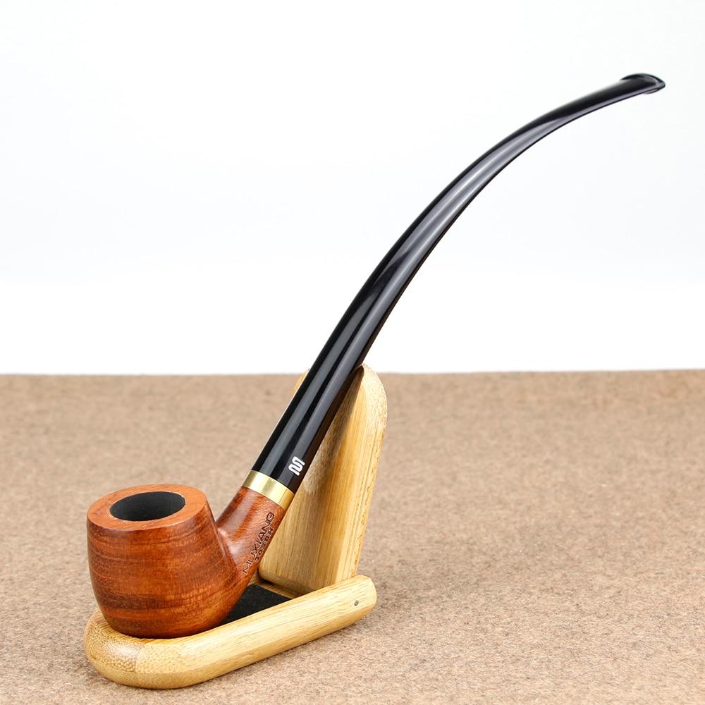 Classic 23cm Long Smoking Pipe 3mm Filter Bent Wooden Pipe free accessories set Rosewood Tobacco Pipe Metal Ring Smoke Pipe Set