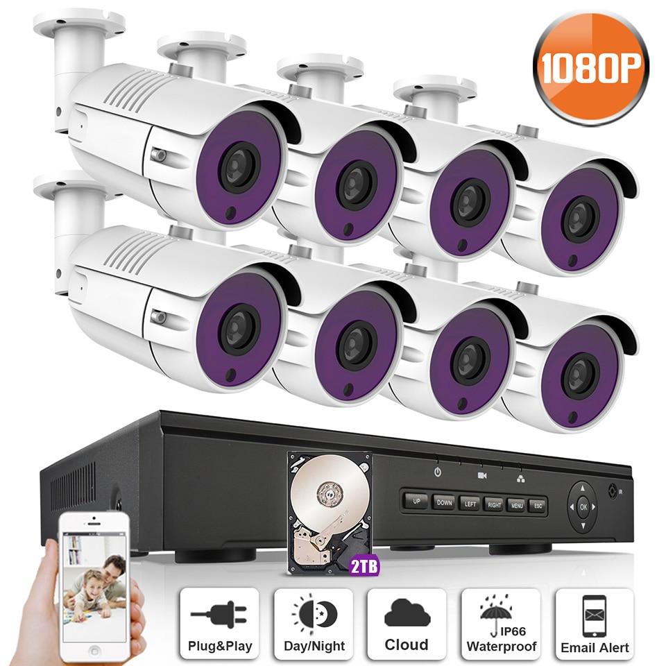 ANRAN P2P Plug and Play 1080P HD 8CH POE NVR 36 IR Day Night Outdoor Waterproof Security POE IP Cameras CCTV System Wiht 2TB HDD система видеонаблюдения anran security 2 hdd 8 nvr onvif 1080p hd h 264 ir ip 8ch hk02w ip2 0 4