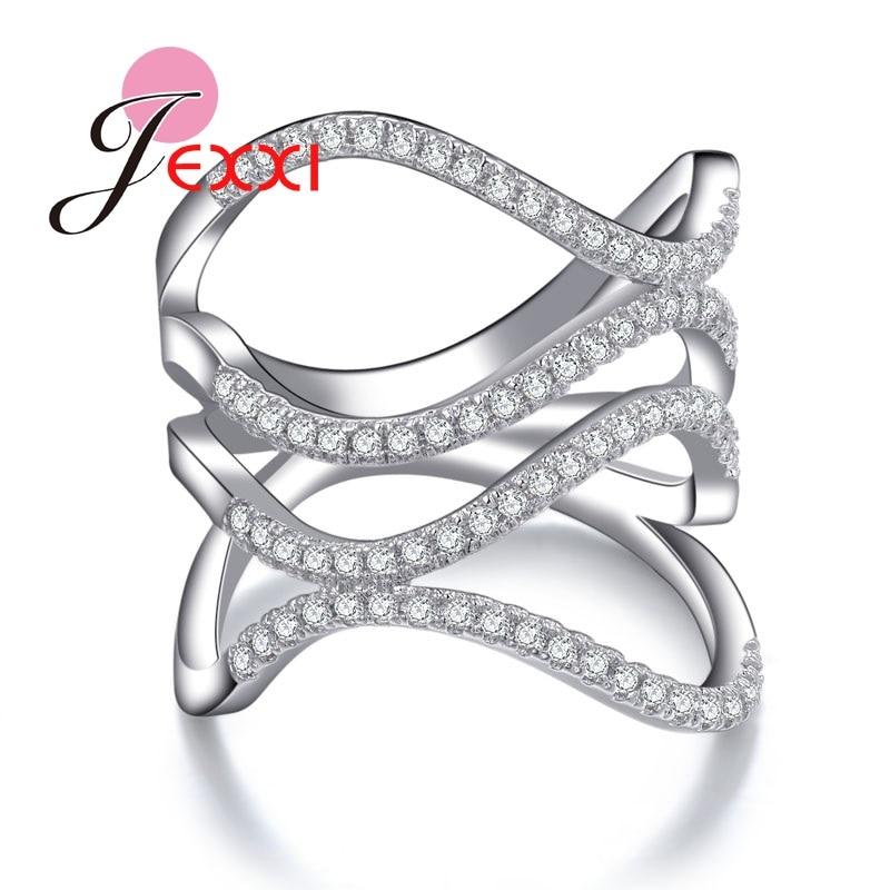 JEXXI специальных Дизайн вечерние украшения для Для женщин девочек очаровательные свадебные Обручение обещание кольцо с Блестящий прозрачны...
