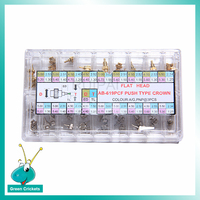 Wholesale 54pcs/box Assortment Watch Crown Parts set, Push Type Flat Head Golden / Silver Watch Crown For Watchmake Replacement