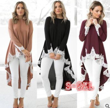 Fashion High Quality Girl's Blouse Patchwork Lace Long Sleeve Casual Top Swallow Tail Islamism Blouses for Muslim Women