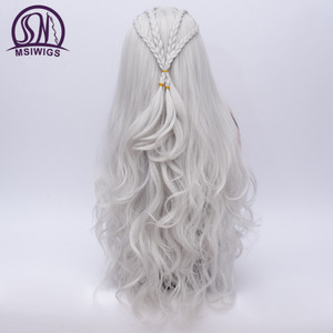 Image 4 - MSIWIGS 2 Colors Long Silver White Curly Wigs Cosplay Synthetic Blonde Braided Wig for Women Natural Braid Hair Heat Resistant