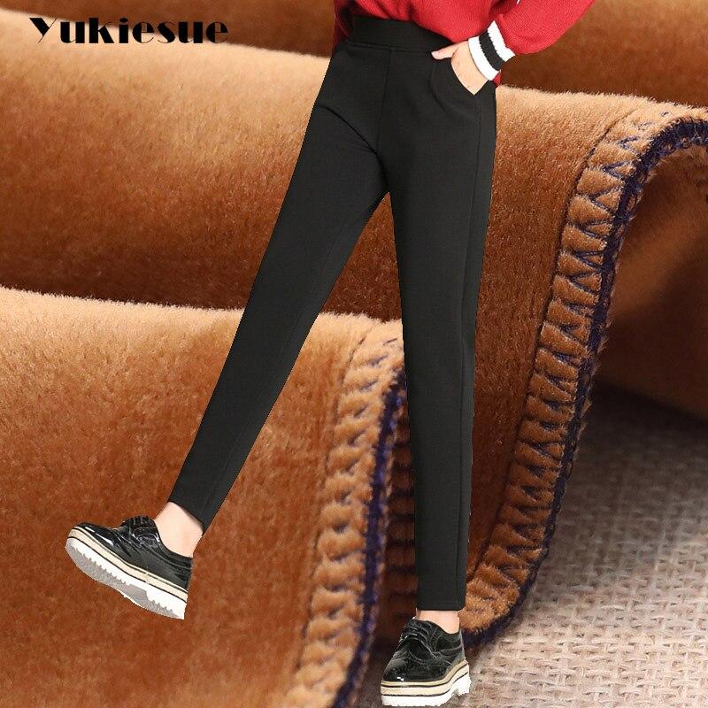 Winter warm harem   pants   women 2018 fleece thicken high waist elastic stretch OL office casual loose   pants     capri   female trousers
