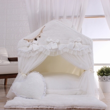 Pure white pet lodge coral velvet warm kennel with thick pad and quilt nest can be washed repeatedly for multiple use