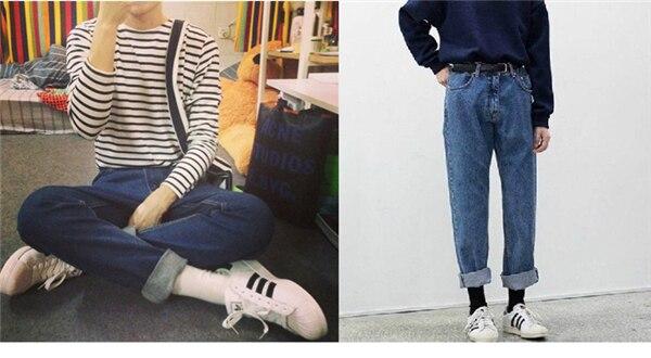 19 korean style women pencil denim pants high waist jeans woman casual vintage jeans boyfriend mom jeans light blue streetwear 14
