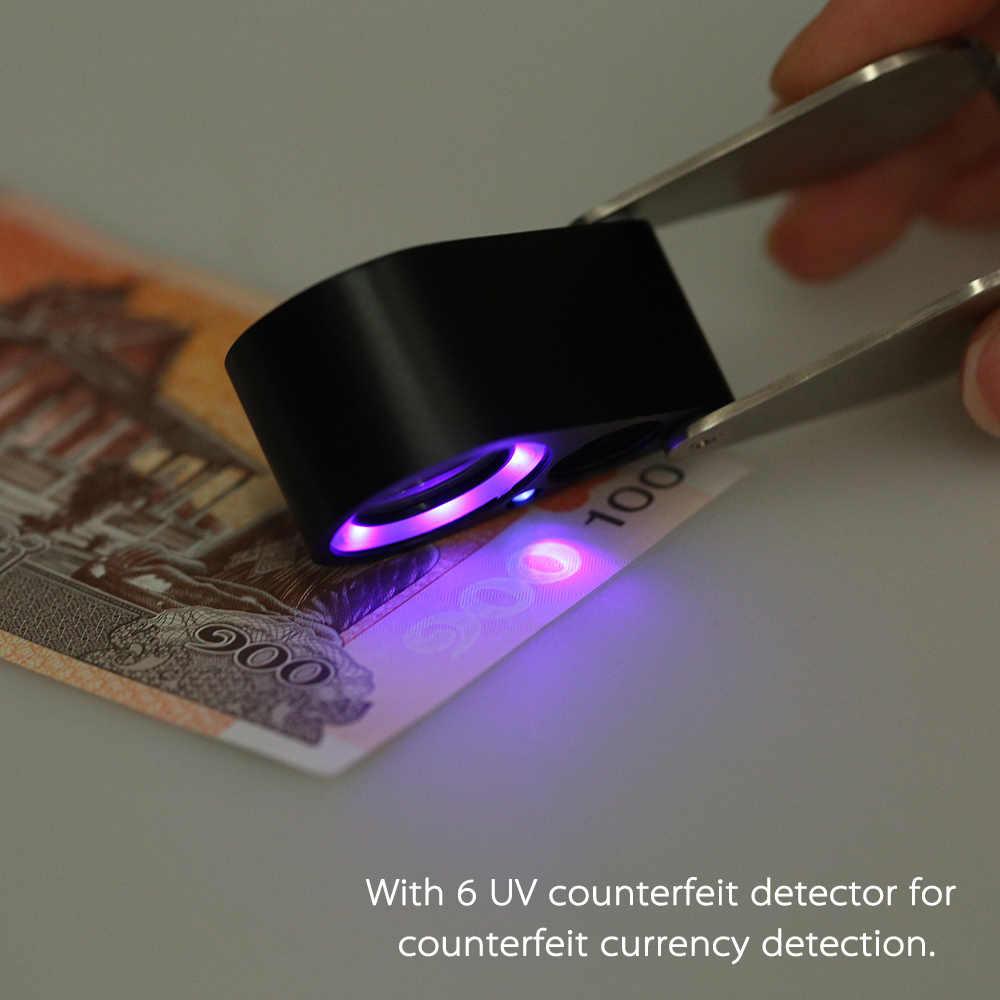 30X Лупа с светодио дный подсветкой ручной светодиодный Ювелир Лупа Triplet увеличительное стекло встросветодио дный енные светодиодные фонари УФ поддельный детектор + сумка