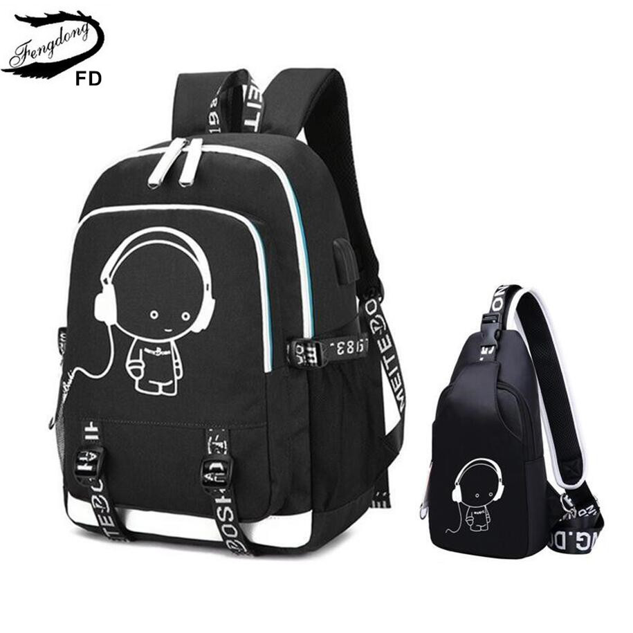 FengDong waterproof school backpack for boy chest bag USB backpack for men travel bags male laptop bag pack school bags for boys fengdong brand female laptop backpack women travel bags high school backpack for girls black and white waterproof chest bag set