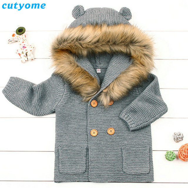 e939647f9 Newborn Baby Thick Hooded Rabbit Ear Sweater With Fur Collar For ...