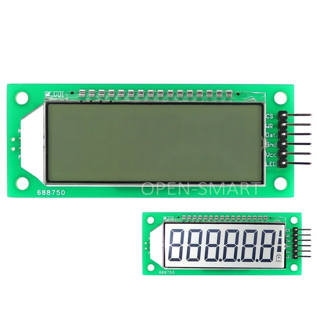 LCD Module 2.4 inch 6-Digit 7 Segment LCD Display Module HT1621 LCD Driver IC with Decimal Point White Backlight for Arduino
