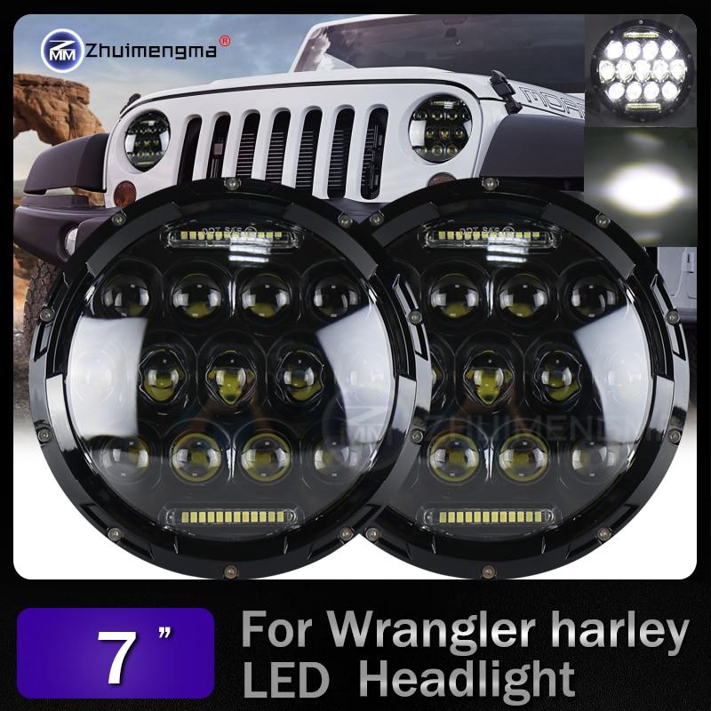 7 inch led daymaker 130W led headlight with white amber turn signal for Harley Davidson Jeep Wrangler High Low Beam DC 12v 24v