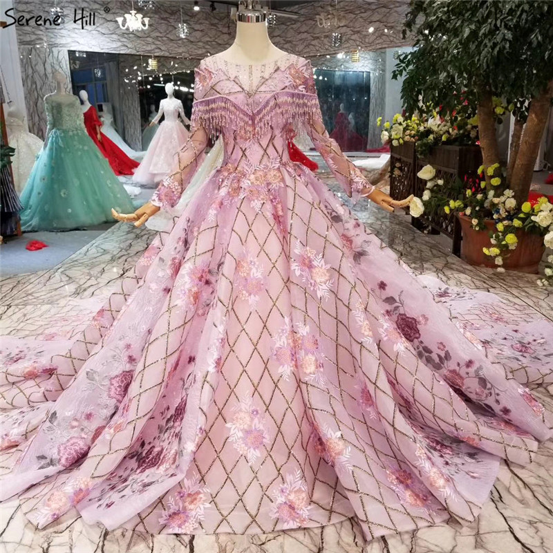 Real Retro Weddings: Pink Purple Long Sleeve High End Wedding Dresses 2019 Real