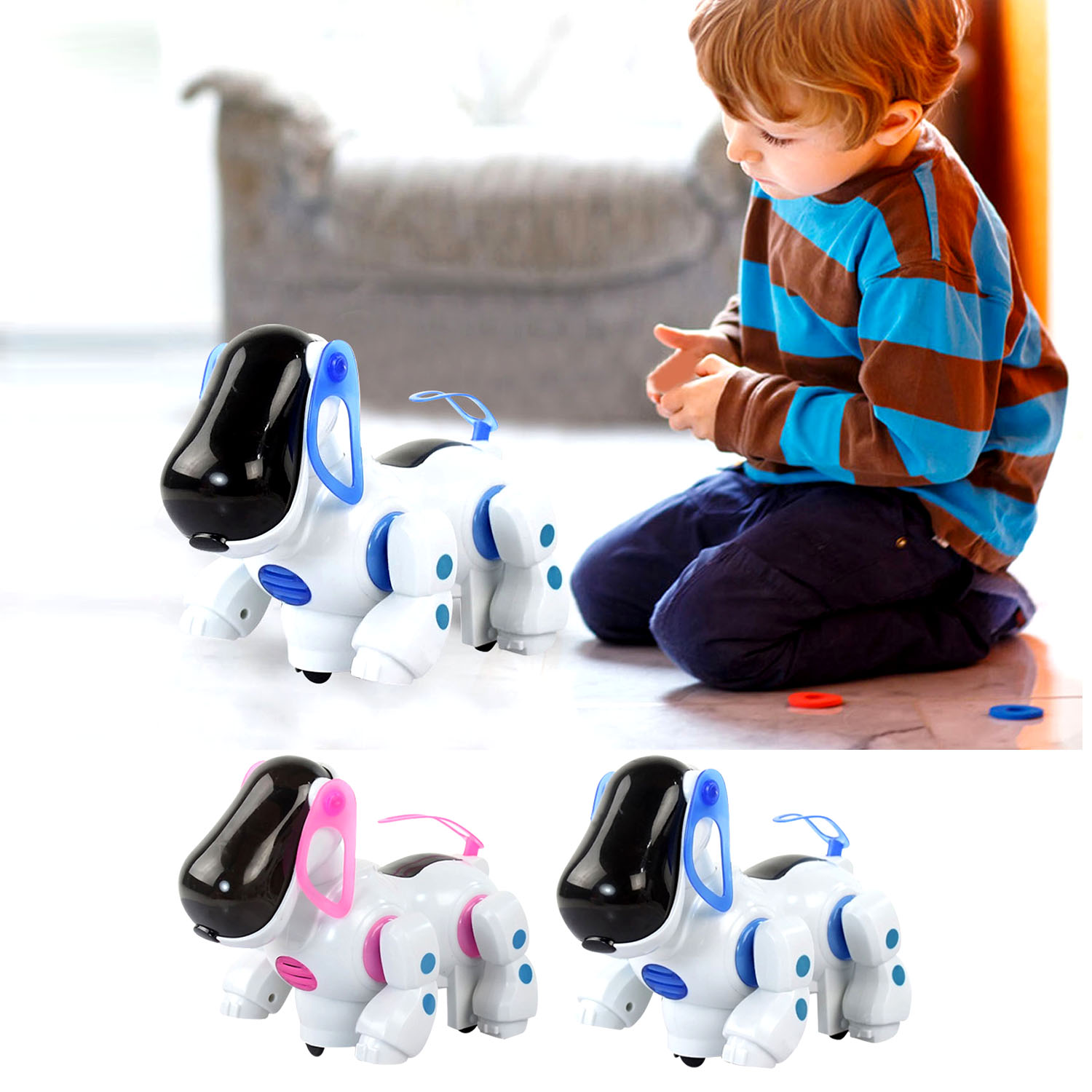Electronic Robot Dog Toys Light Music Walking Stand Robot Pet Dog Interactive Puppy Children Educational Toys For Birthday Gifts
