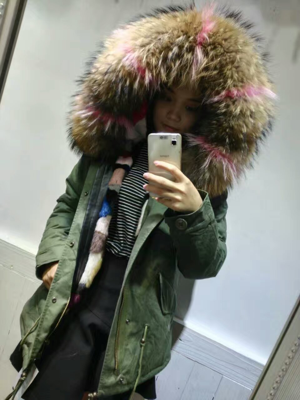 FASHION NEW Bigger Raccoon Dog fur hooded coat colorful real fur inside jacket winter women Mink Fur coats multi furs parka