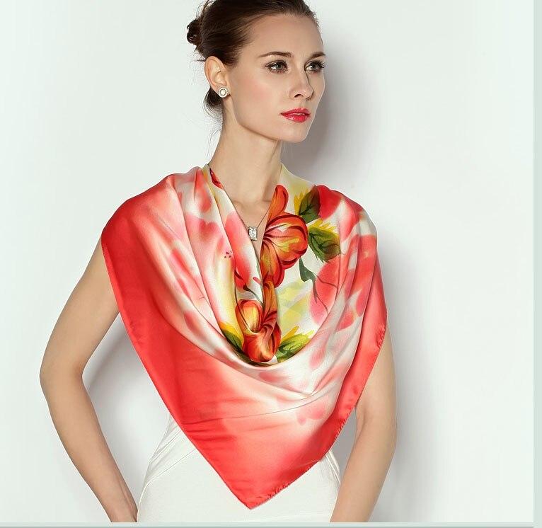 Marque de luxe femmes hiver pashmina hijab 100% satin de soie lourde main fleur imprimer châles et foulards de noël Écharpe Femmes