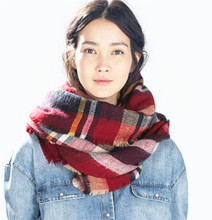 Tartan Print Big Winter Scarf Oversize Cape Blanket For Lady Bandana Shawl and Scarves 10 Colors Available Free Shipping
