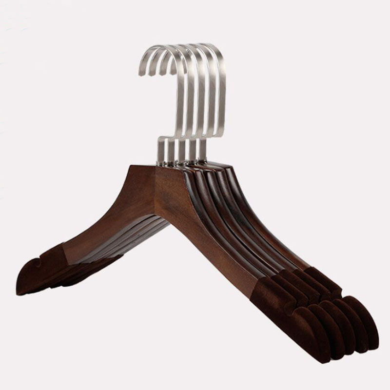 12 Pcs Anti-slip Solid Wood Clothes Hangers with Velvet Flocked, Walnut Non Slip Shirt Coats Shirts Hanger Rack with Notches