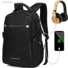 FANLOSN Men Laptop Backpack 15.6 inch Large Capacity Waterproof Daily Work  whloesale Computer Schoolbag USB Charging Port