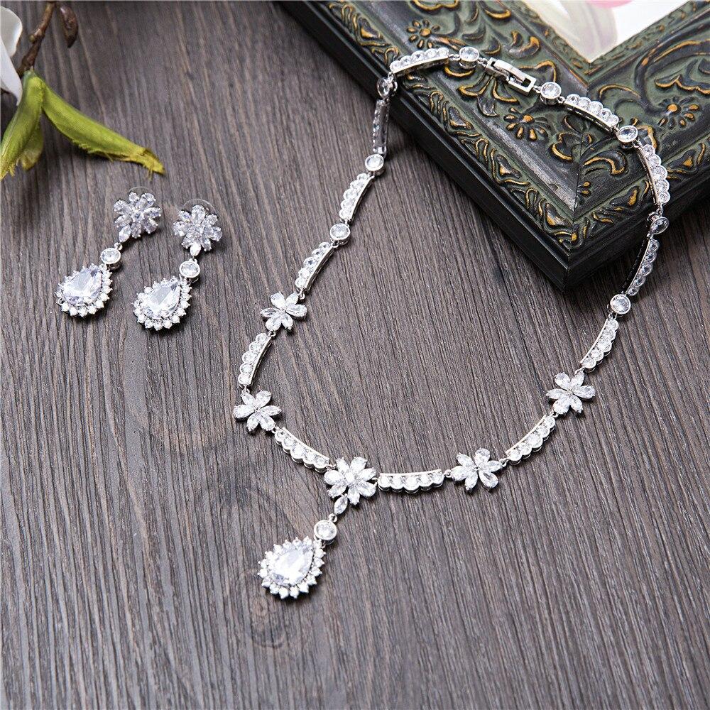 Collier de luxe Design fleur pendentif AAA clair zircon cubique bijoux ensemble mariage mariée Dangle boucles d'oreilles colliers femmes Parure