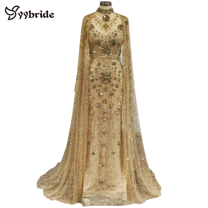 Surmount Real Dresses Heavy Beaded Luxury Vintage Dresses High Neck Luxury Pearls With Cloak Long Sleeves Crystals Evening Dress