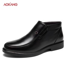 AOKANG 2018 Autumn Winter Men Dress Shoes Genuine Leather Casual Shoes Formal Shoes Round Toe Slip on Short Plush shoes men