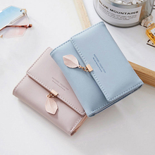Korean fashio minimalist solid Leaves small women short wallet pu leather hasp slim trifold purse 2019 new sale thin coin pocket