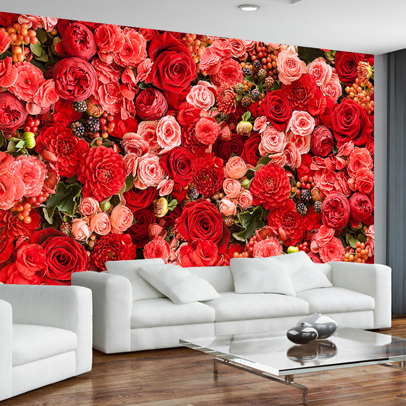 JiaSheMeiJu Custom 3D Photo Wallpaper For Modern Wall Mural Red Rose Living Room Papel De Parede 3D Mural Wallpaper Bedroom Hall