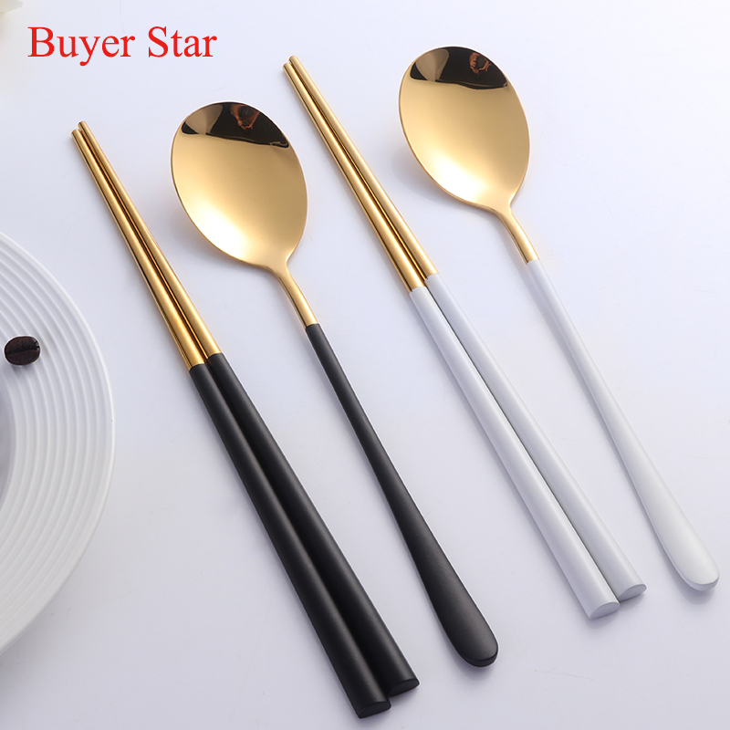 2pcs/lot Gold Chopsticks Spoon 304 Stainless Steel Korean Reusable Black White Hashi Sus ...