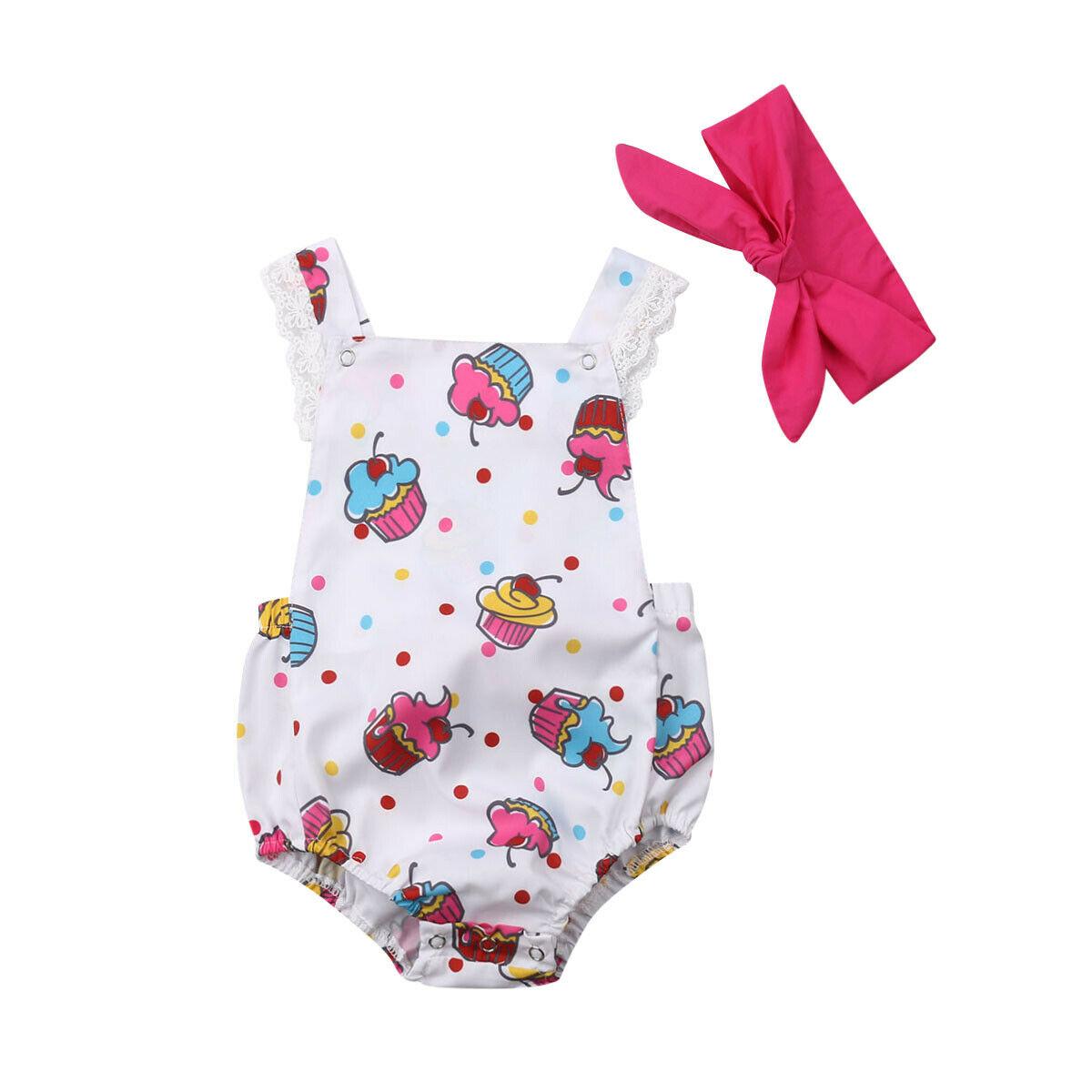 0-18 M Nette Neugeborene Baby Mädchen Ärmellose Ice Cream Drucken Spitze Baby Body Overall Stirnband 2 Pcs Sommer Kleidung Dinge Bequem Machen FüR Kunden