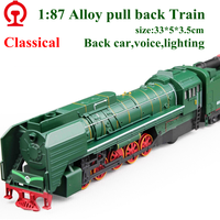 New Exquisite Model Toys European Retro Steam Train Locomotive Model 1 87 Alloy Trains Pull Back