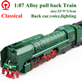 Nueva exquisito juguetes modelo retro europeo de vapor locomotora modelo 1 : 87 alloy trenes tira del coche excelente regalo caliente de la venta