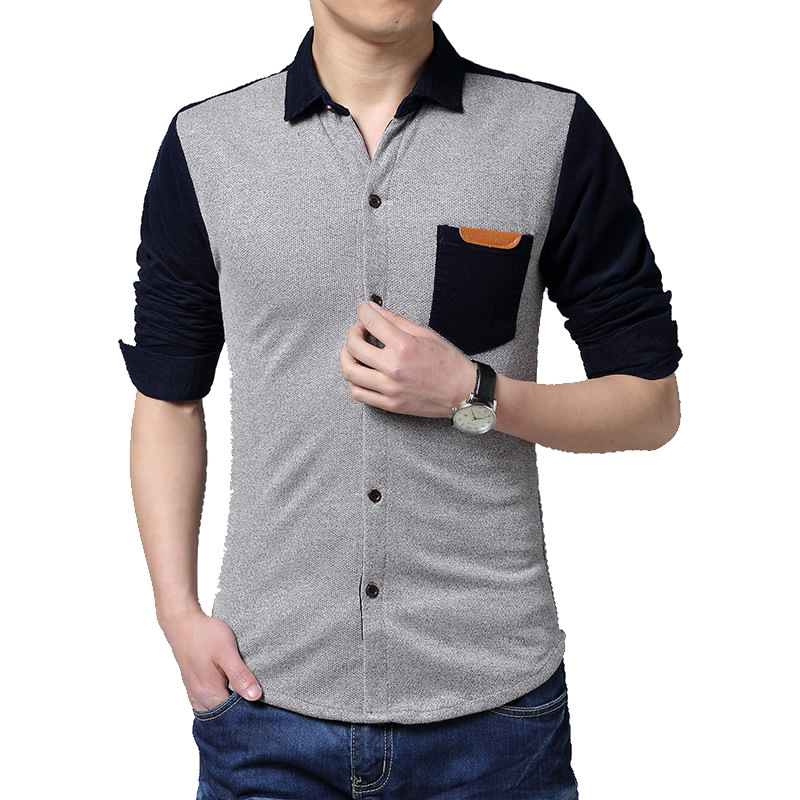 2016 New Brand Men Shirt Fashion Pocket Casual Shirt Men Long Sleeve Slim Fit Dress Shirt Grey Coffee Blue Green Plus Size 5XL