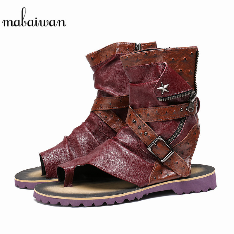 Mabaiwan Punk Men Sandals Summer Leather Gladiator Ankle Boots Buckle Slipper Casual Beach Shoes Men Handmade Flats Plus Size italian classic mens summer gladiator beach sandals ankle buckle weave hollow out cow real leather shoes large size casual shoes