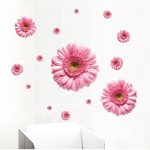 Combinación decorativo de diy wall sticker crisantemo girasol 3d daisy art decor
