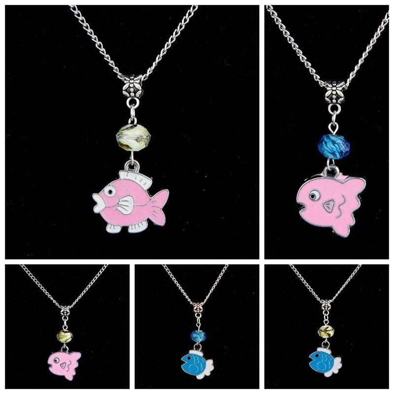 10PCS Drop Glaze Pretty Fish Glass Flower Bead Charm Pendant Popular Short Clavicle Necklace Banquet Jewelry