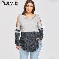 PlusMiss Plus Size 5XL Sexy Cold Shoulder Tunic Tops Long Sleeve Long Blouse Women Clothing Big