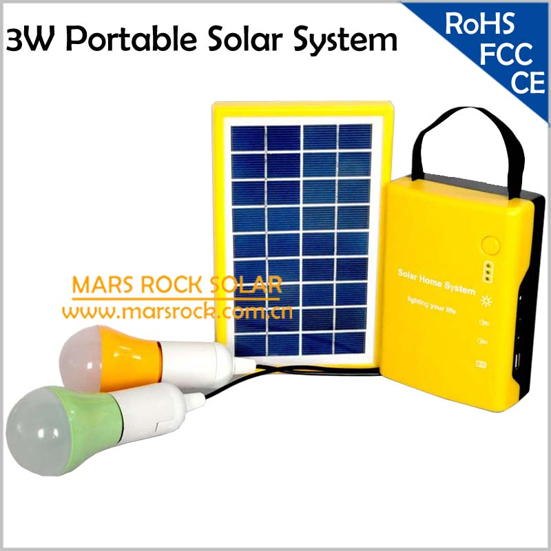 3W Solar Power System, Portable Solar Generator for Camping/Hiking/Home Use, Mini Solar Energy Lighting System with 2 LED Lamps