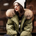 Guaxinim Verdadeira Gola De Pele de luxo Com Capuz Mulheres Casacos de Inverno E casacos Casual Quente Long Down Jacket Grosso Plus Size Feminina Parka