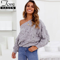 Autumn Winter Sexy Knitted Off Shoulder Sweater Loose Pullover Hollow Cable Knit Warm Sweater Women Coarse Long Sleeve Jumper