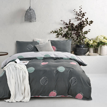 WINLIFE Grey Bedding Set with Endless Printed Geometric Duvet Cover 3 Pcs